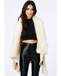 Missguided Keira Faux Fur Open Cape In Beige - Natural