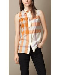 Burberry Exploded Check Cotton Voile Sleeveless Shirt orange - Lyst