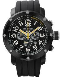 Tw Steel Unisex Chronograph Grandeur Tech Black Silicone Strap Watch 48mm Tw610 - Emerson Fittipaldi Special Edition - Lyst