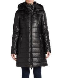 Saks Fifth Avenue Black Faux Leather Vegan Puffer Coat - Black