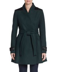 Badgley Mischka Flared Wool-Blend Coat - Lyst