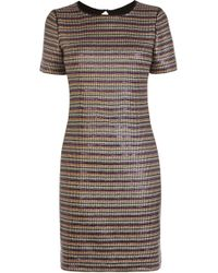Karen Millen Multicoloured Stripe Sequin Dress multicolor - Lyst