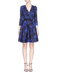 Diane von Furstenberg Valerie' Floral Print Wool-Silk Wrap Dress blue - Lyst