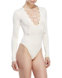 Re:named - Lace-Up Bodysuit - Lyst