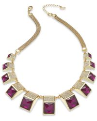 ABS By Allen Schwartz Gold-tone Purple Stone and Crystal Pavé Frontal Necklace - Lyst