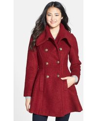 Guess Double Breasted Boucle Coat - Lyst