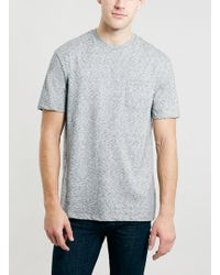 Topman Grey Neppy Pocket T-shirt - Lyst