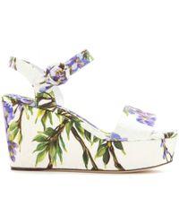 Dolce & Gabbana Bianca Brocade Wedge Sandals - Lyst