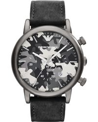 Emporio Armani Stainless Steel Camo Dial Watch - Lyst