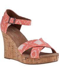 TOMS Strappy Wedge Sandal Geo Orange Fabric - Lyst