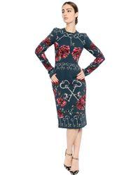 Dolce & Gabbana Key Printed Stretch Viscose Cady Dress - Lyst