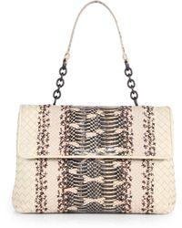 Bottega Veneta Olimpia Intrecciato Leather & Python Top-Handle Bag - Lyst