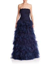 Tadashi Shoji | Embellished Strapless Feather Gown | Lyst