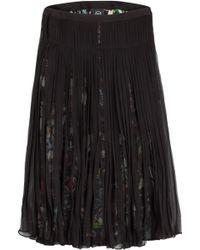 McQ by Alexander McQueen Shirred Chiffon Printed Midi Skirt - Lyst