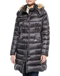Moncler Hermico Puffer Coat with Fur Trim - Lyst