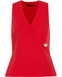 Christopher Kane Wool-crepe Wrap Top - Lyst