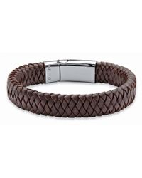 Palmbeach Jewelry - Men's Brown Braided Leather And Stainless Steel Bracelet With Magnetic Closure 9'' - Lyst