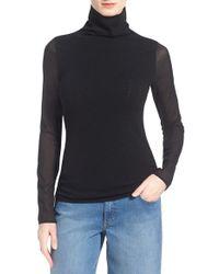 Chelsea28 Nordstrom Silk Sleeve Turtleneck Sweater - Black