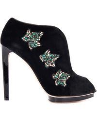 Alexander McQueen Leaf-embellished Velvet Ankle Boots - Lyst