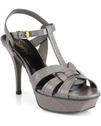 Saint Laurent Tribute Croc-Embossed Leather Platform Sandals - Lyst