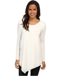 DKNY Ls Asymmetrical Top W Chiffon and Crepe De Chine Piecing - Lyst