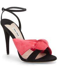 Miu Miu Ankle Strap Bow Sandal black - Lyst