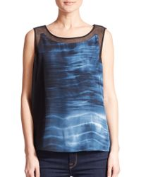 Elie Tahari Lori Silk Blouse blue - Lyst