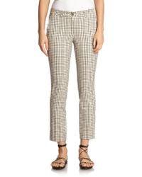 Michael Kors Cotton Check Trousers beige - Lyst