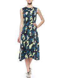 Erdem Feather-Print Washed Silk Dress - Lyst