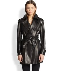 Burberry Maybole Leather Trench - Lyst