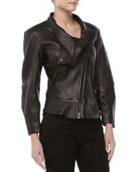 Donna Karan New York Leather Plonge Biker Jacket - Lyst