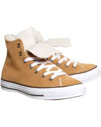 Converse All Star Hi Double Tongue Shearling - Lyst