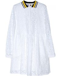 MSGM White Lace Dress With Collar - Lyst