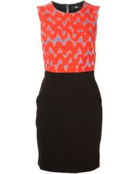 Markus Lupfer Scribble Print Fitted Dress - Lyst