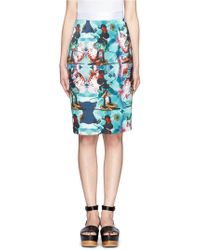 Helen Lee - Minnie Mouse Floral Print Satin Pencil Skirt - Lyst