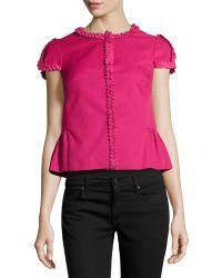 RED Valentino Short-Sleeve Twill Box Jacket - Lyst