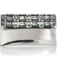 Marni Embellished Metallic Envelope Clutch - Lyst