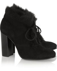 Pedro Garcia Barbara Goat Hairlined Suede Boots - Lyst