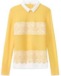 Tory Burch Yellow Edwina Sweater - Lyst