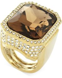 Vince Camuto - Gold-plated Champagne Stone And Crystal Ring - Lyst