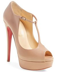 Christian louboutin Alta Poppins T-strap Red Sole Pump in Black | Lyst