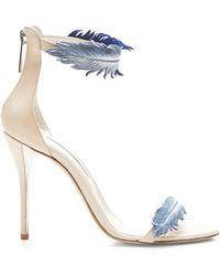 Oscar de la Renta Aubree Feather-Detail Suede High-Heel Sandals - Lyst