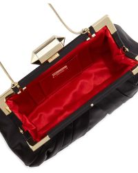 Badgley Mischka Leonor Silk Evening Clutch Bag - Black