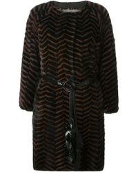 Liska Belted Fur Coat - Lyst