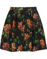 Miu Miu Floral-print Silk-faille Mini Skirt - Lyst