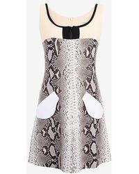 Carven Sleeveless Printed Dress beige - Lyst
