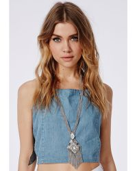 Missguided Tribal Style Longline Necklace Silver - Lyst
