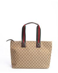 Gucci - Beige Gg Canvas Web Stripe Diaper Bag - Lyst