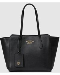 Gucci Swing Small Leather Tote - Black