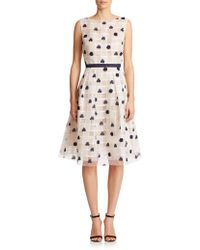 Kay Unger Organza Lace-Overlay Dress white - Lyst